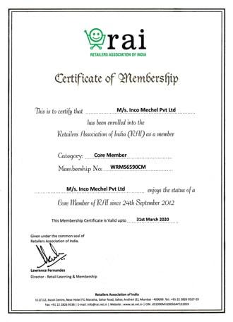 Rai Membership Certificate - Inco